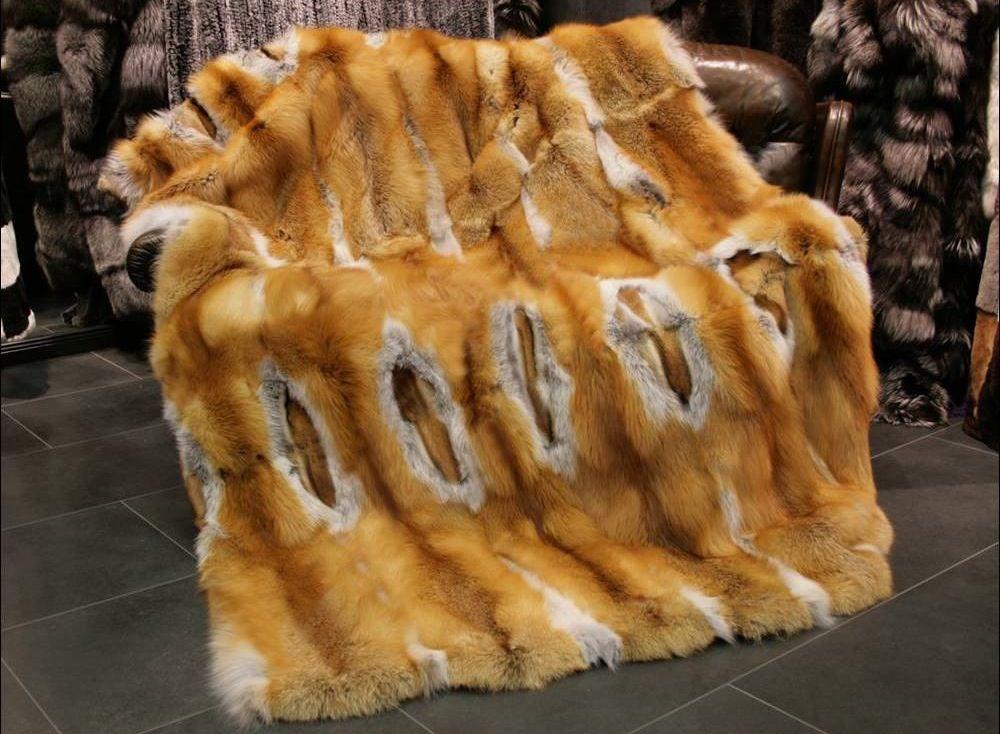 Red Fox Fur Throw