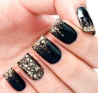 Uñas Negras Con Dorado Diseños De Uñas Doradas Uñas