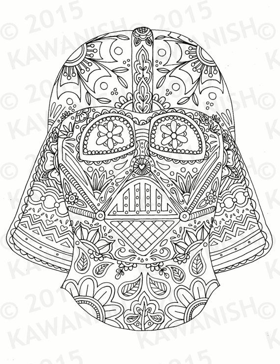 day of the dead darth vader mask adult coloring page gift wall art star wars