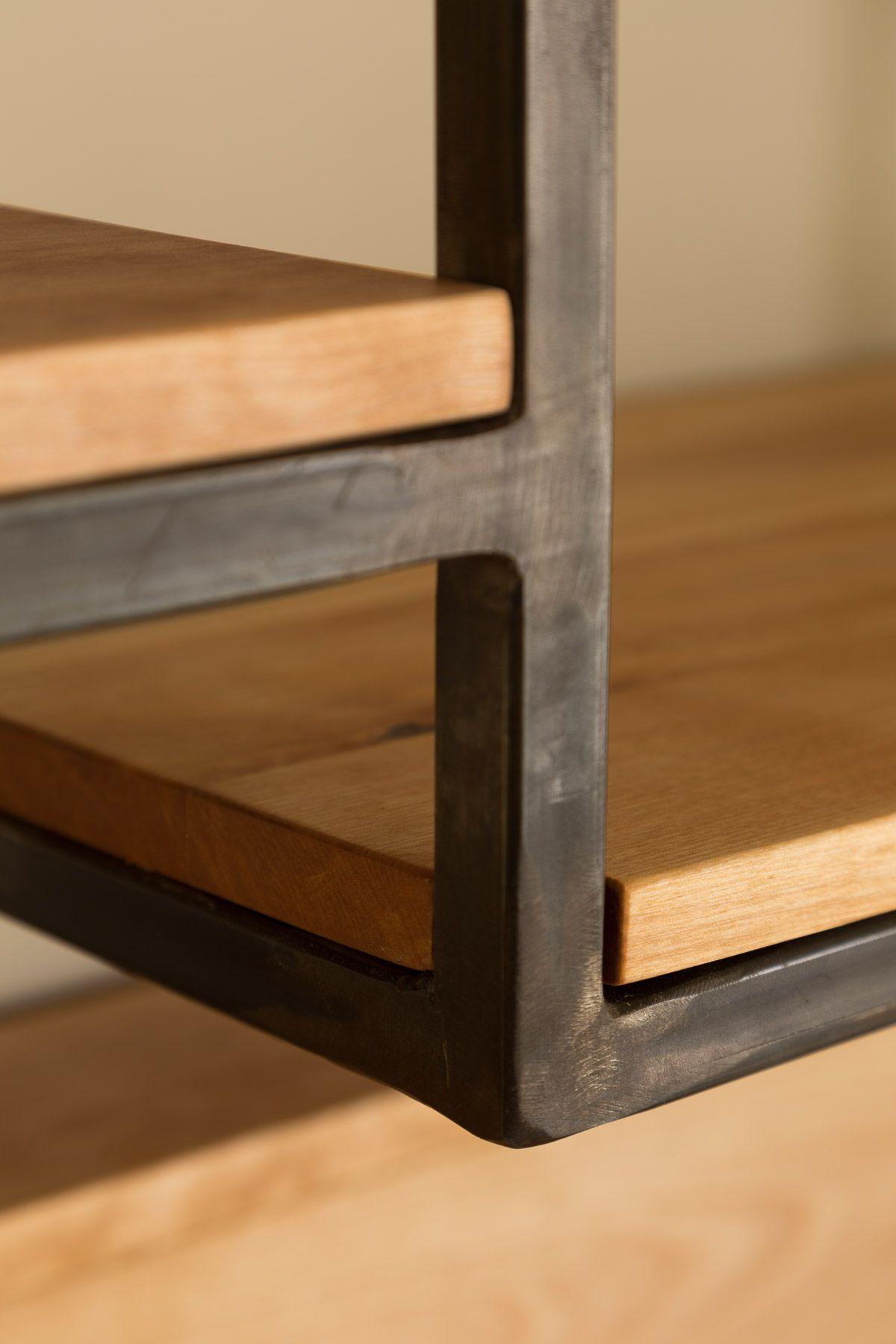 meuble en acier et merisier massif tables tournantes livres et vinyles books - Table Merisier Massif