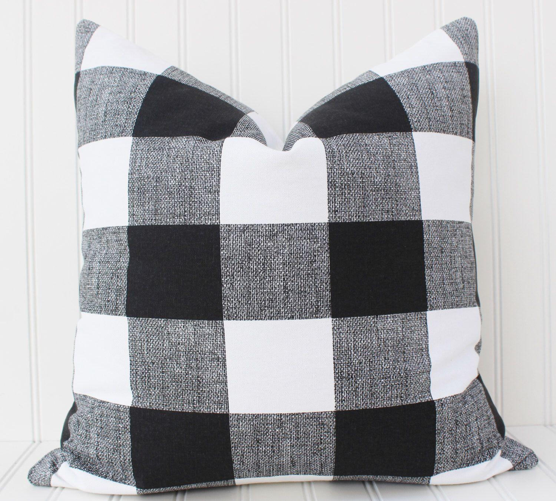 Black And White Buffalo Check Pillow Cover Throw Pillow Decorative Pillow Cushion Cover Black And White Checkered Plaid Buffalo Check Buffalo Check Pillows Pillows Pillow Covers