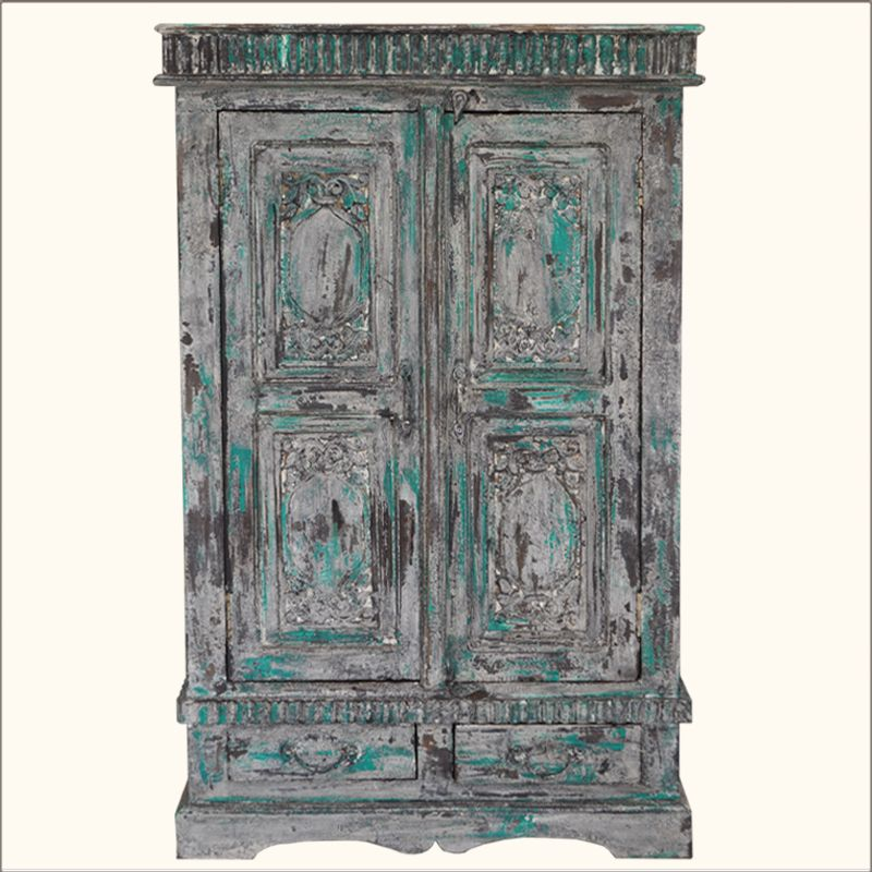 Reclaimed Wood Hand Painted Wardrobe Armoire Closet Rustic Furniture