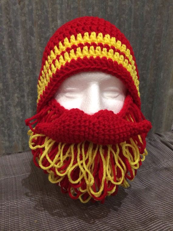 97341b2f Shaggy Beard and Mustache Hat in Red and Yellow Kansas City colors ...