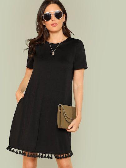 12a9c2c009 Frayed Edge Button Detail Tweed Dress -SheIn(Sheinside)   Banda ...