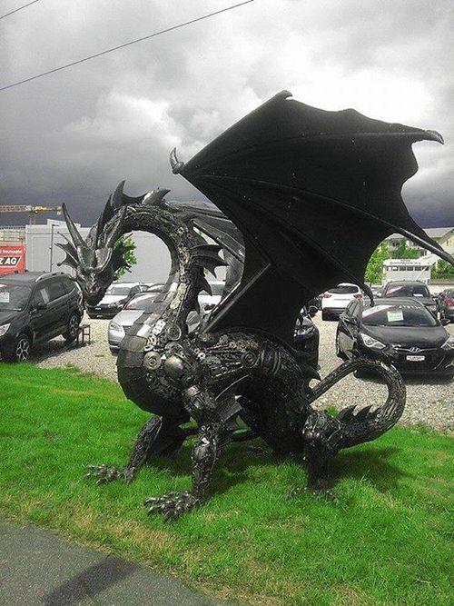 art sculpture dragon steampunk tendencies scrap metal Metal Art steampunk steam punk