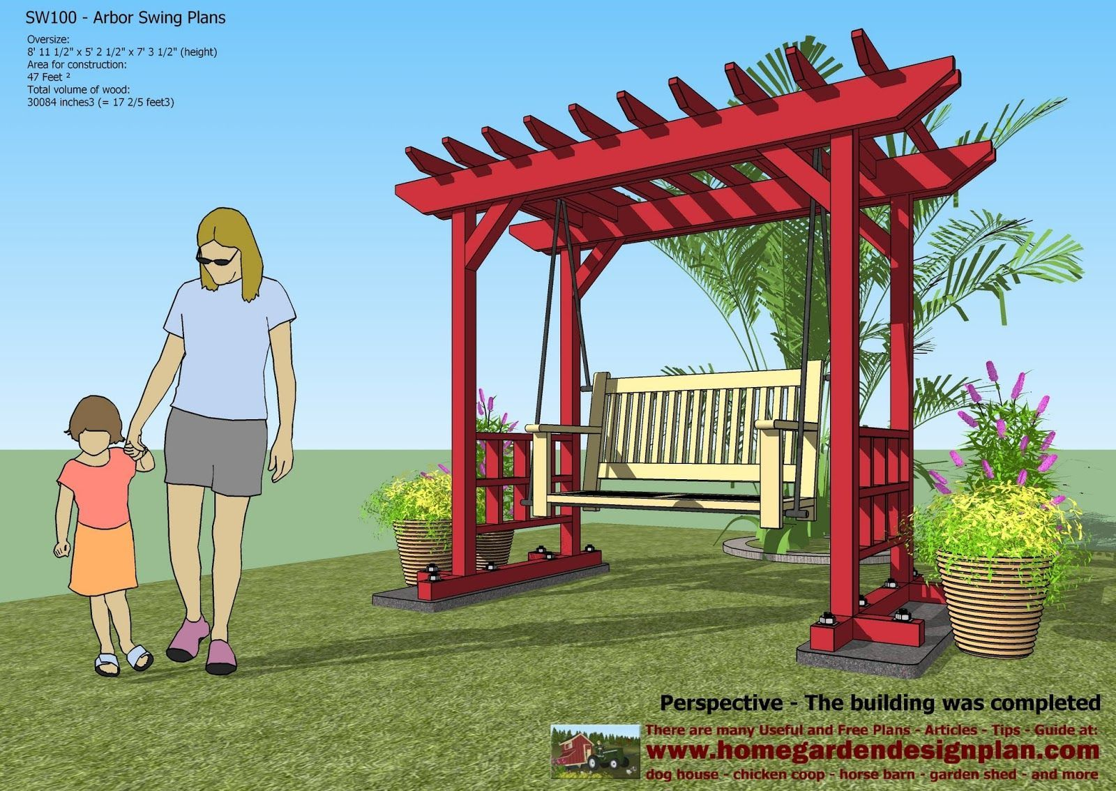 Home garden plans sw arbor swing plans swing woodworking