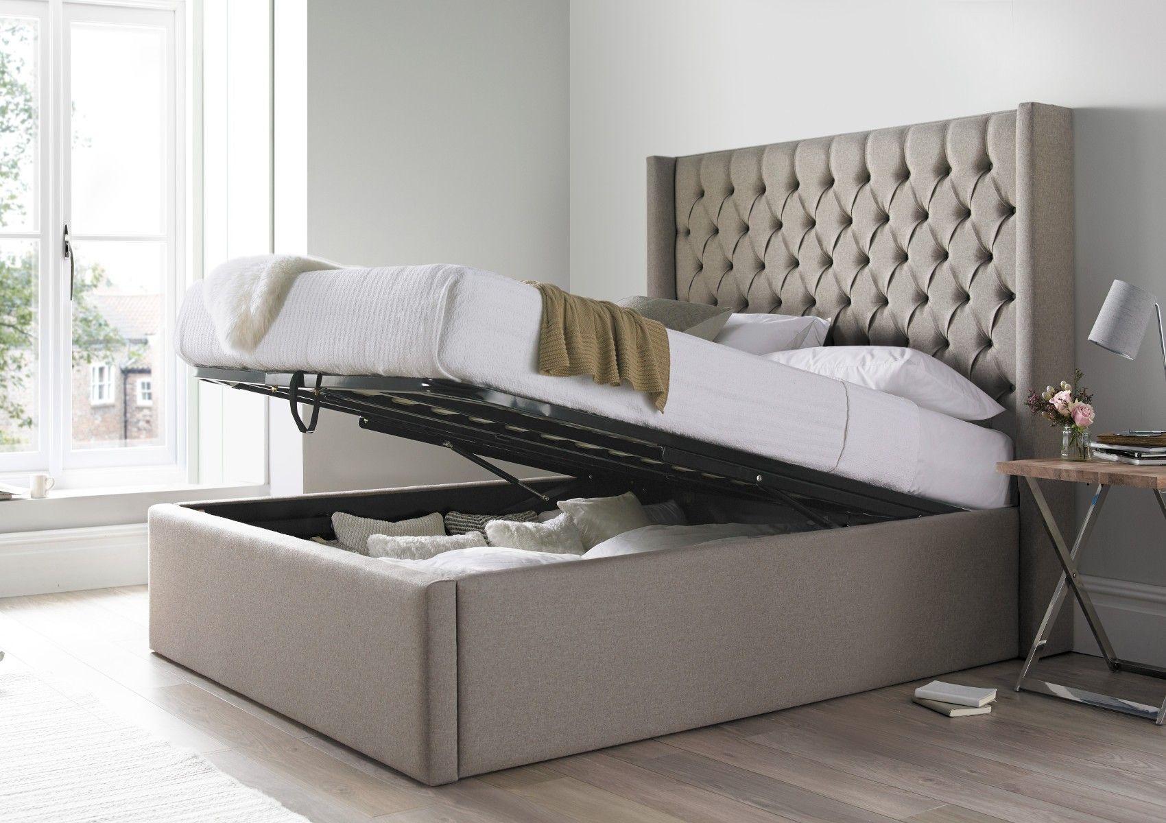 Islington Shetland Mercury Upholstered Ottoman Double Bed Frame Only ...