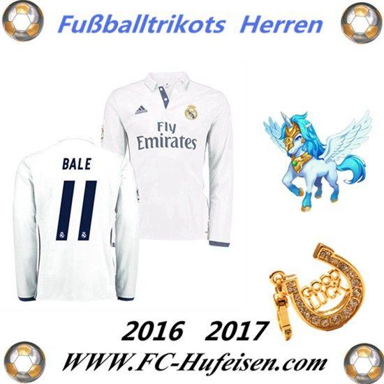 Neue Fussball Trikots Real Madrid Weiß Lange Ärmel (BALE 11) Heim Saison 2016 2017 Billig