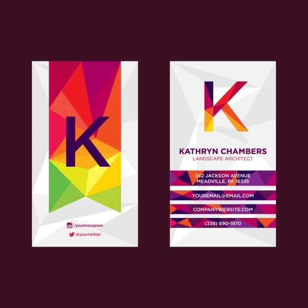 Download Modern Polygonal Colorful Business Card For Free Colorful Business Card Create Business Cards Free Business Card Templates