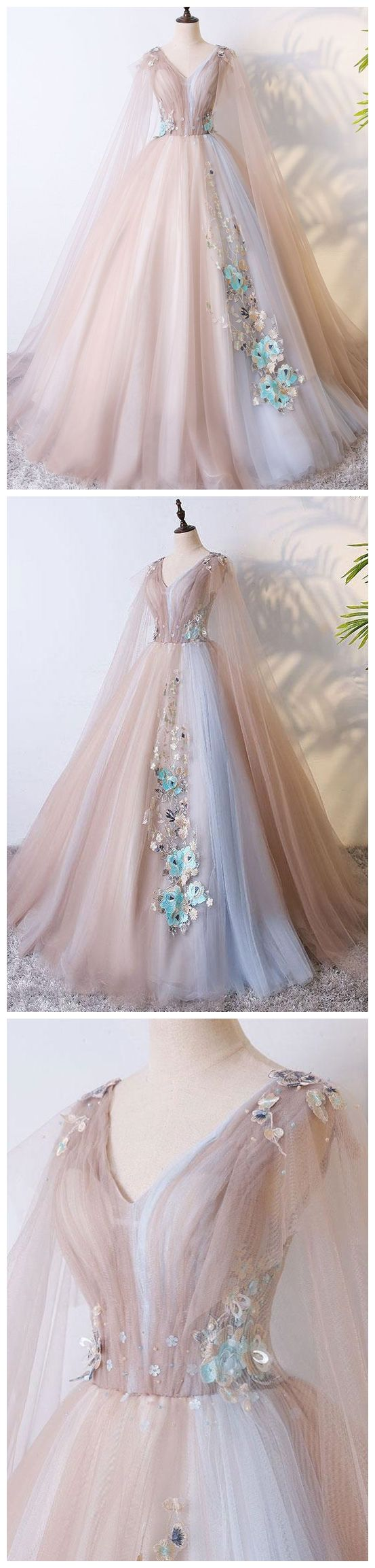 eb129b06f48 A Line Tulle Khaki Embroidery Appliqued Prom Dresses Cape Sleeve Evening  Ball Gowns  eveningdresses  eveninggowns  formaleveningdresses  promdresses    ...