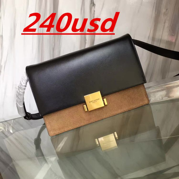 1fd86bdc77 YSL MEDIUM BELLECHASSE SAINT LAURENT BAG IN BLACK LEATHER AND TAUPE SUEDE  shoulder bag 482044 size:24X16X7CM 0850WY10240 watsapp:+8615503787453
