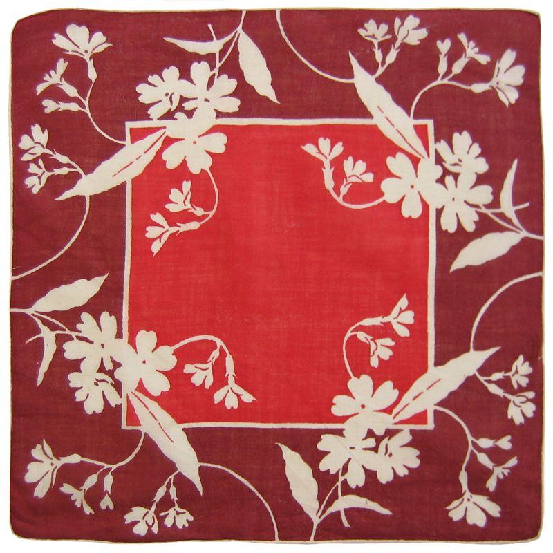 red center, burgundy border and white flowers