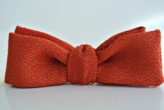Boys Bow Tie Rust Orange Pre Tied Clip On By ClassA