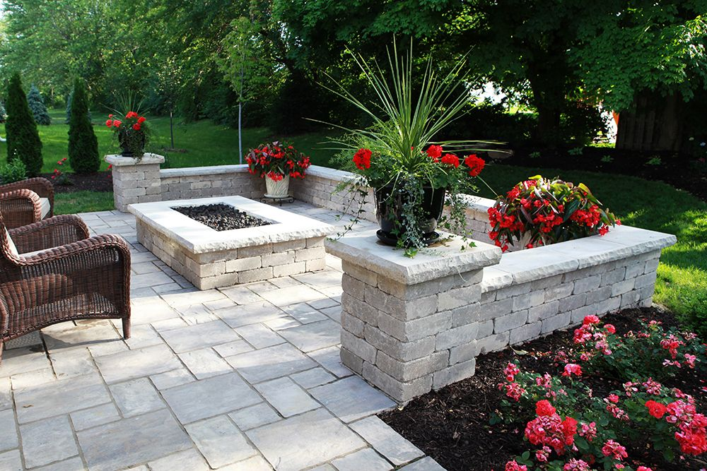 Paver Patio, fire pit and wall, Limestone caps (With ...
