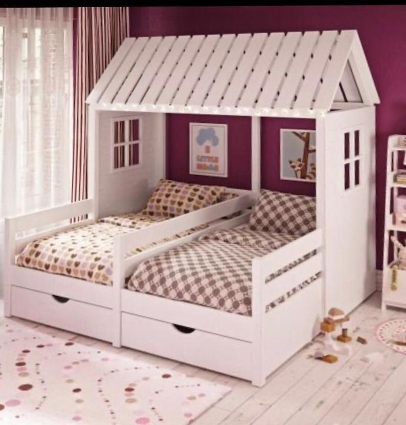 Solid wood and plywood L-Shape nook double bed with drawers, removable railings, reading sofa, Montessori children housebed, hausbett