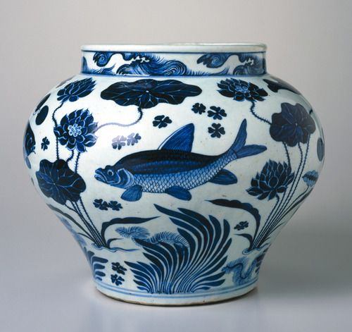 impartart:  Wine Jar with Fish and Aquatic Plants. China. Yuan dynasty, c. 1279–1368. Porcelain with underglaze cobalt blue decoration, 1115/16 x 133/4in. (30.3 x 34.9cm);Brooklyn Museum