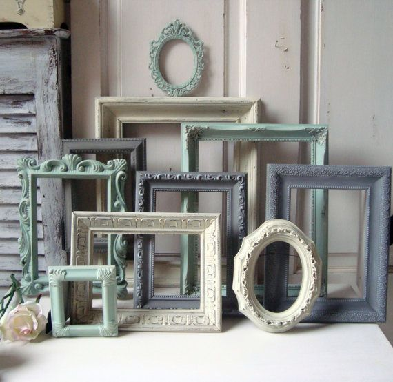 mint green and gray painted picture frames by willowsendcottage 13900 - Mint Picture Frames