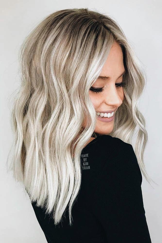 Strand Wellen Balayagehairblonde In 2020 Haarschnitt Highlights Schwarze Haare Mittellange Haare
