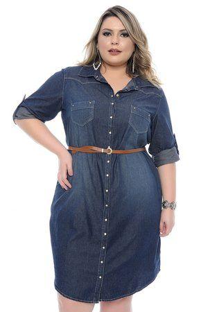 73e2ca03bf DESCRIÇÃO Vestido Jeans Plus Size Anabella com cinto. Vestido Jeans de manga  longa