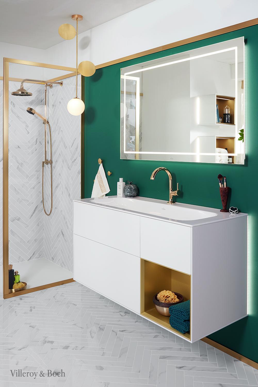 Filigree Design Lines Set A Perfect Bathroom Setting With This Mirror Meuble Sous Lavabo Salle De Bain Design Interieur Salle De Bain