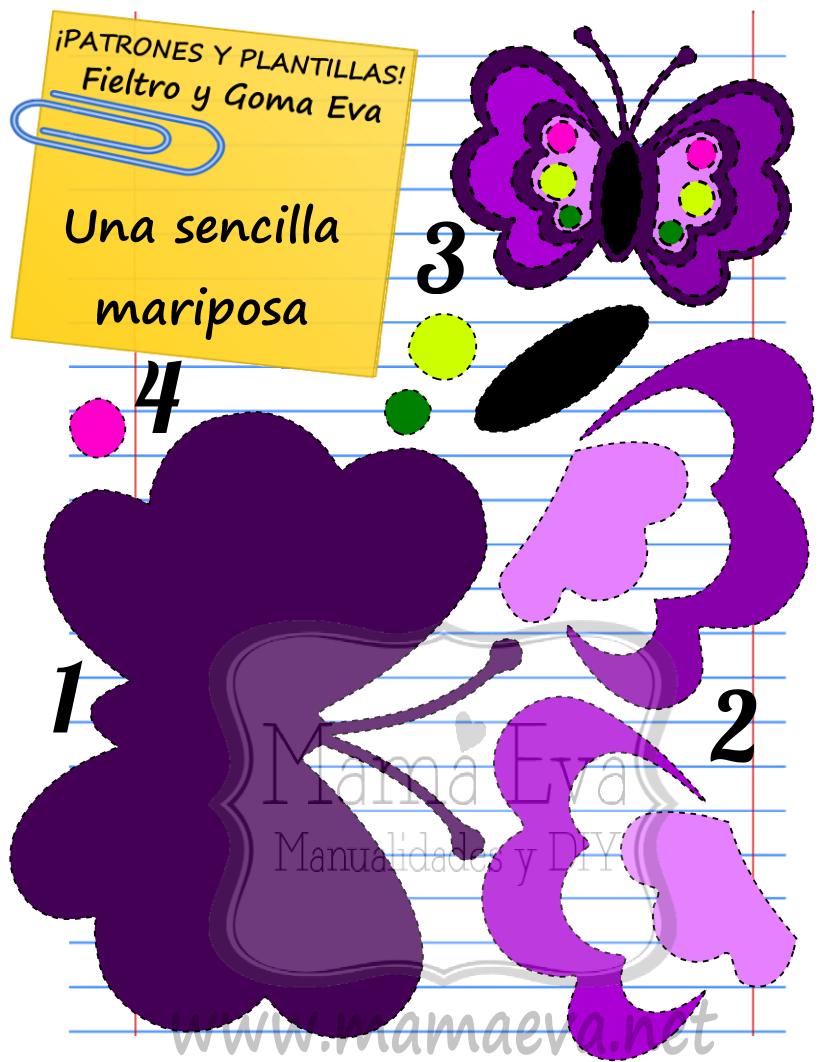 Plantilla patron animales mariposas eva fieltro molde - Plantillas de mariposas ...