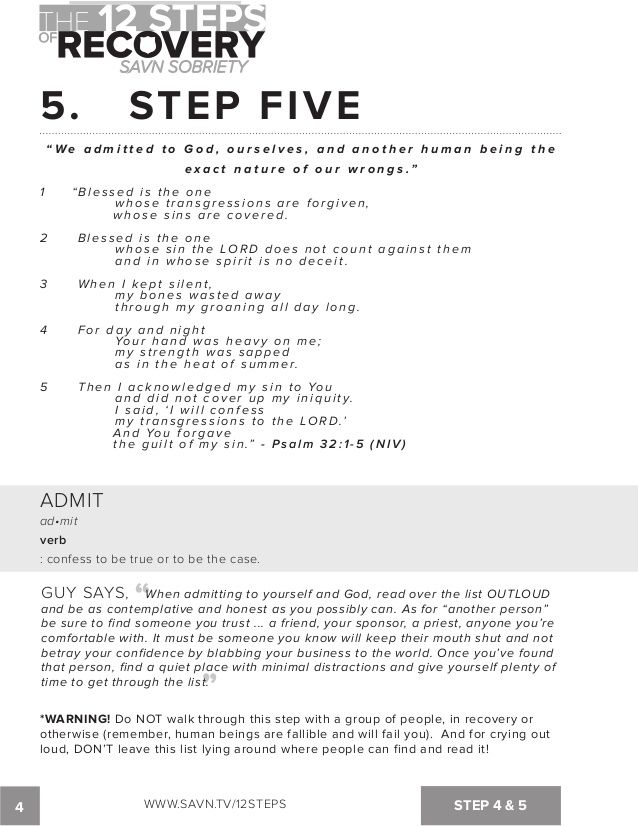 The 12 Steps of Recovery - savn sobriety workbook | Addiction ...
