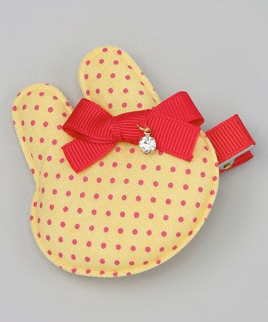 Yellow Polka Dot Bunny Clip on zulily