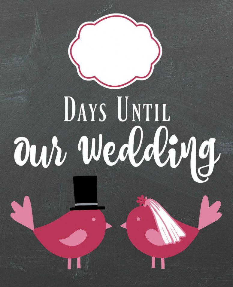 Wedding Day Countdown The Bride Wedding Countdown Countdown Sign Love Birds Wedding