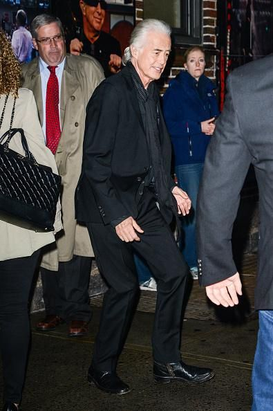 Jimmy Page arriving for taping of the David Letterman Show.. 6 Nov 2014