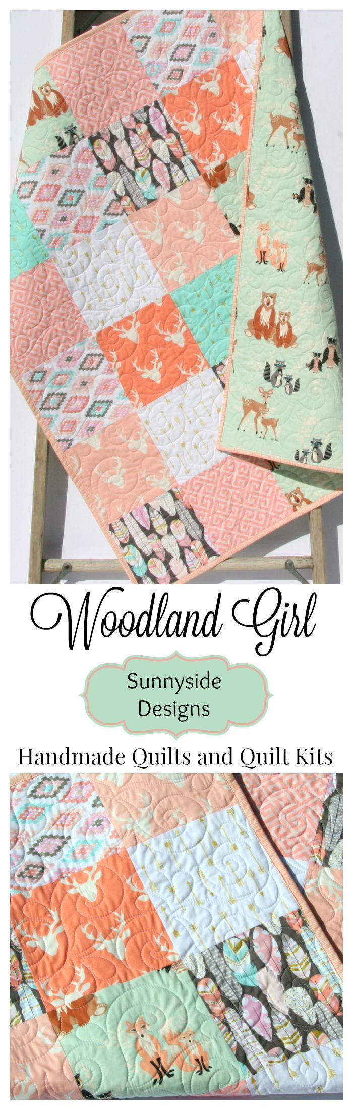 Woodland Girl Baby Bedding Handmade Quilt, Deer Feathers Aztec Tribal Fox owls Bear Arrows Woodland Animals, Baby Quilt Kit, Toddler Quilt, DIY Craft Easy Project, Sewing Quilting Kit, Designer Baby Bedding Modern Gold Metallic Nursery by Sunnyside Designs
