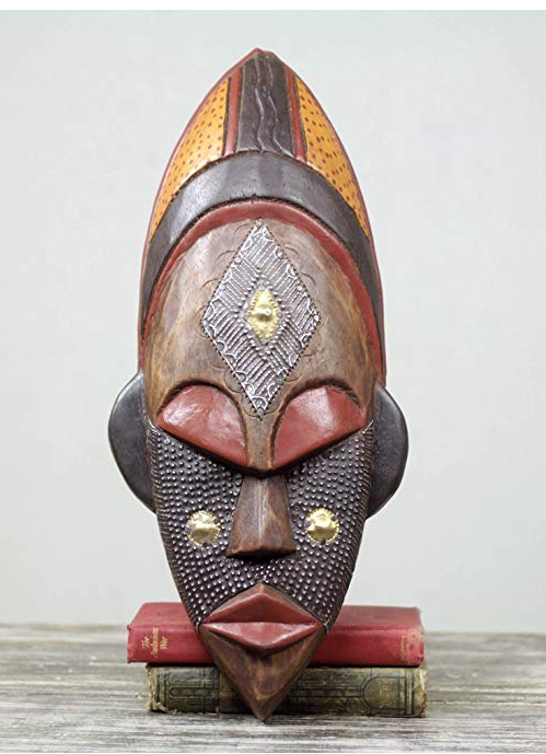 Brown And Red Handcrafted African Wood Wall Mask African Masks Antique Porcelain Dolls Ivory Coast