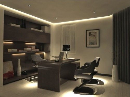 Nice Recessed Lighting And Desk Ld16 And Warm White Lumilum Strip Lights Modern Office Design Modern Home Offices Home Office Design
