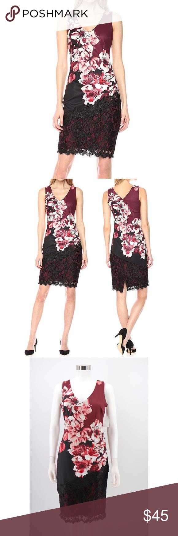 53d0c8dcef Jax Black Label Floral Lace Detail Sheath Dress NWT Jax Black Label Floral  Print Lace Detail