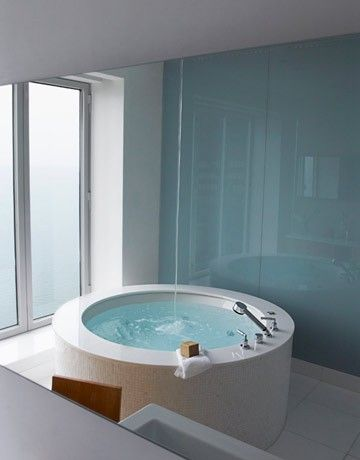Art round bath tub bathroom