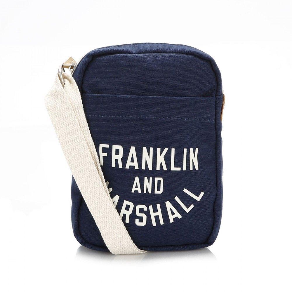 Franklin & Marshall Dark Blue Varsity Small Satchel