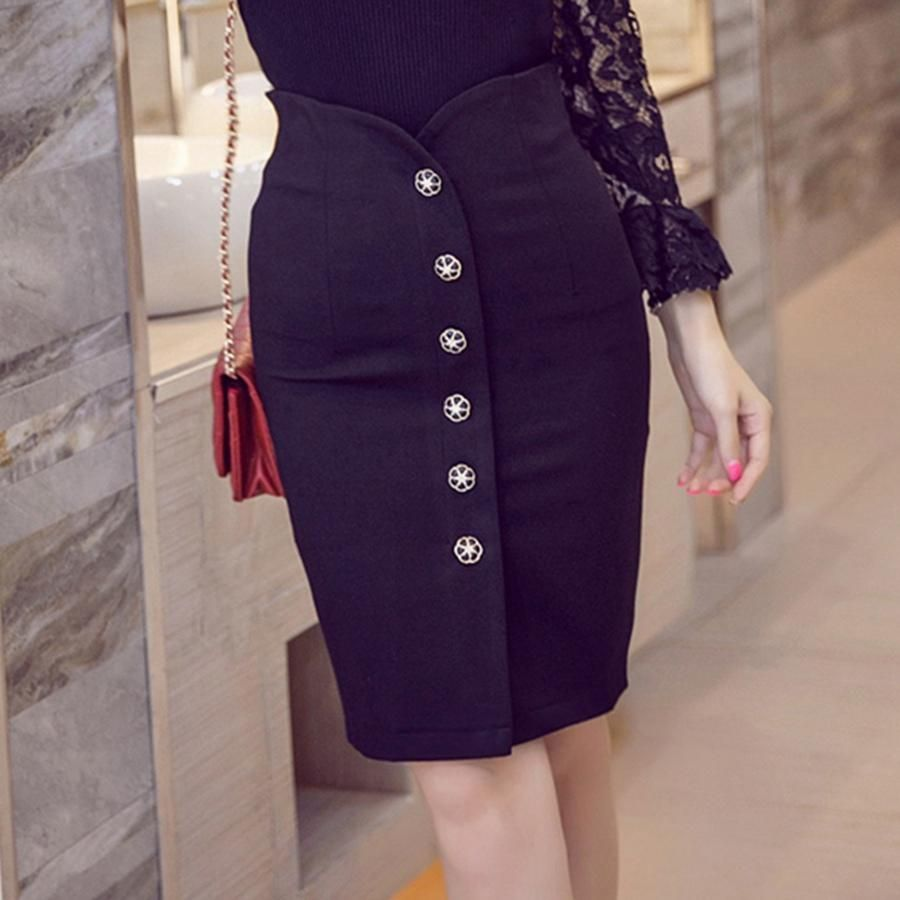 aee772139e3f5 Plus Size Office Skirt Summer Slim Bodycon High Waist Button Split Formal  Office Black Pencil Skirts