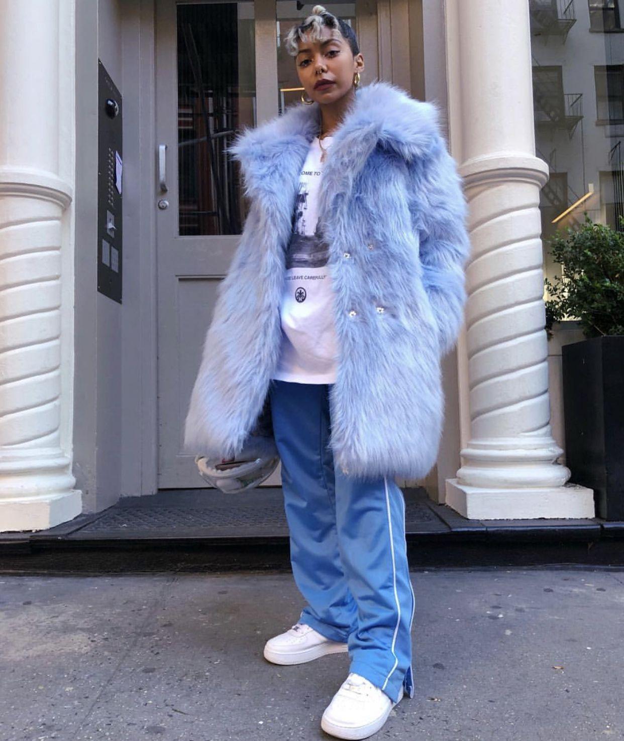 Light Blue Faux Fur Coat Wuzg00d Lookbook Outfits High Fashion Street Style Harajuku Fashion