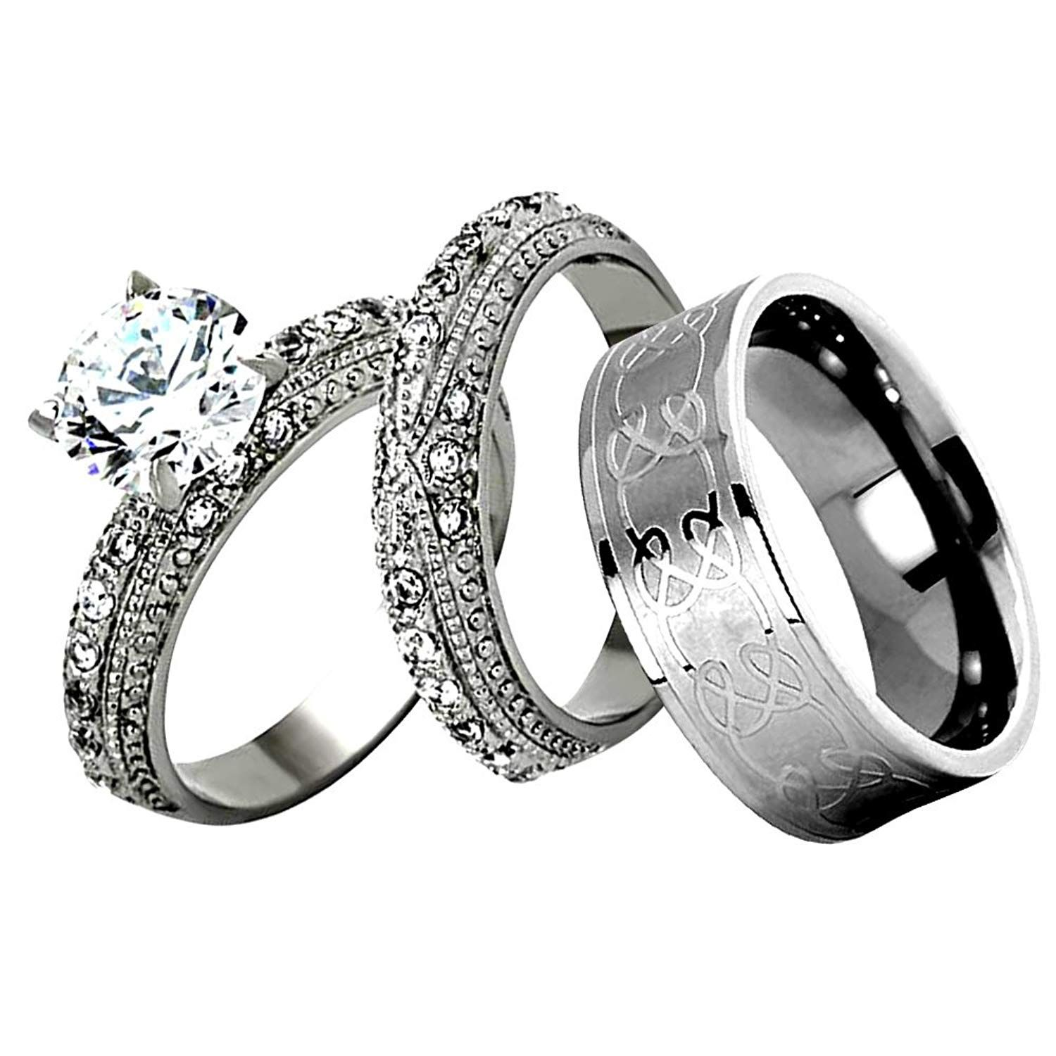 FlameReflection Stainless Steel White His and Hers Wedding