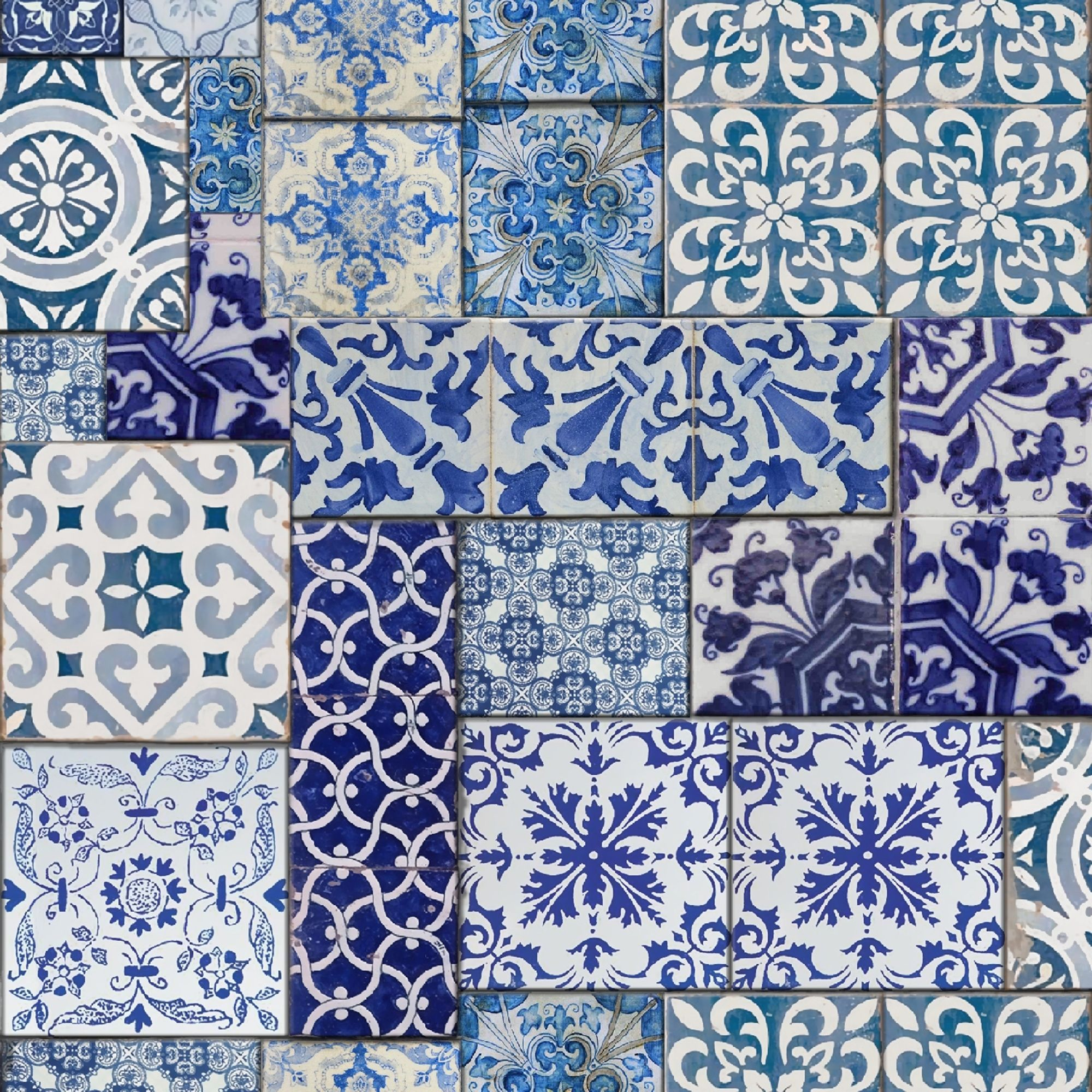 Muriva moroccan tiles wallpaper blue white 601547 for Moroccan style wallpaper