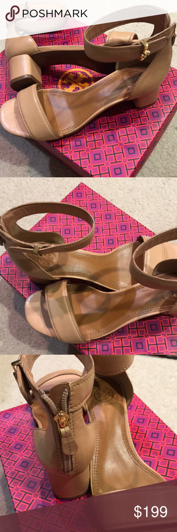 NWB Authentic Tory Burch soft leather sandals sz 8