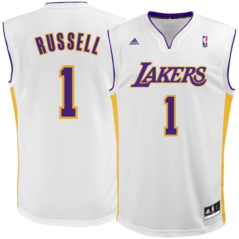 D Angelo Russell Los Angeles Lakers adidas Replica Jersey - White ... d17917a62