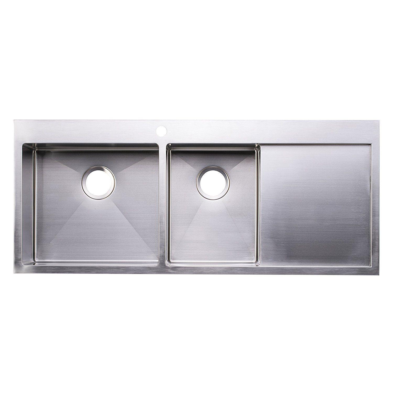 Bai 1235 48 Handmade Stainless Steel Kitchen Sink Double Bowl