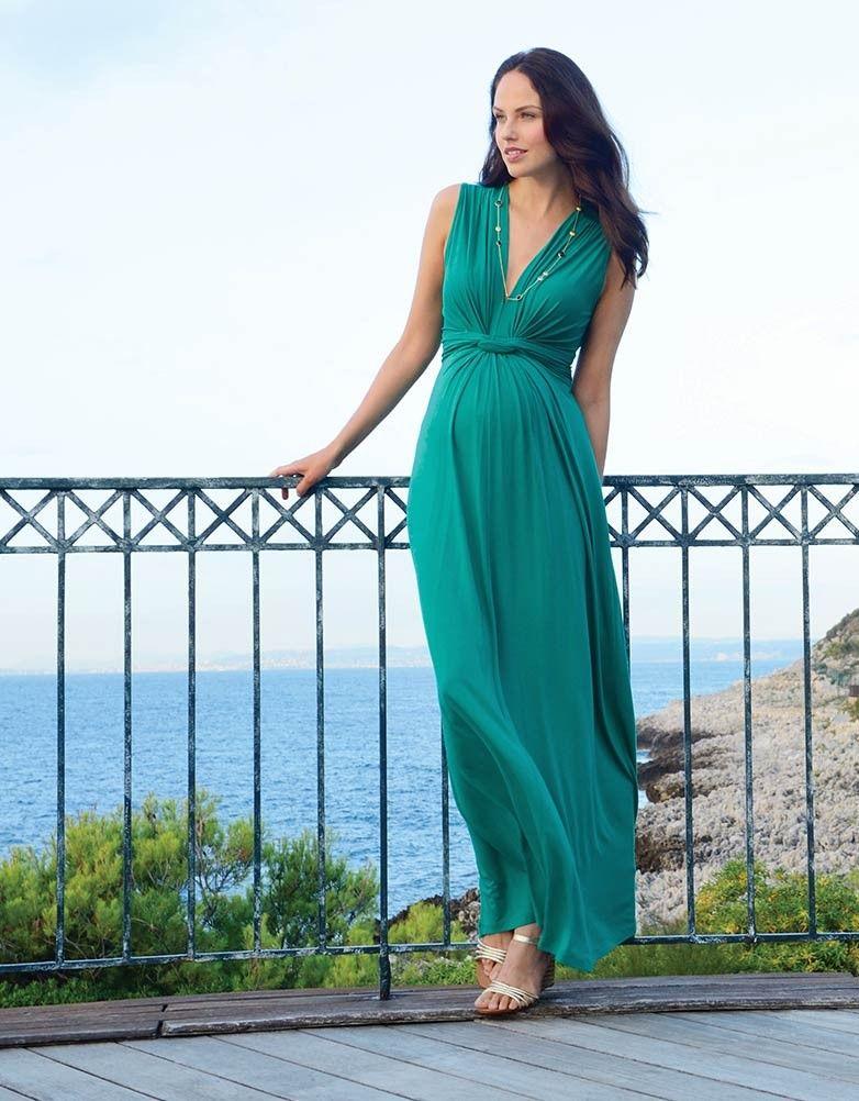 Emerald Knot Front Maternity Maxi Dress | Maternity maxi, Maternity ...
