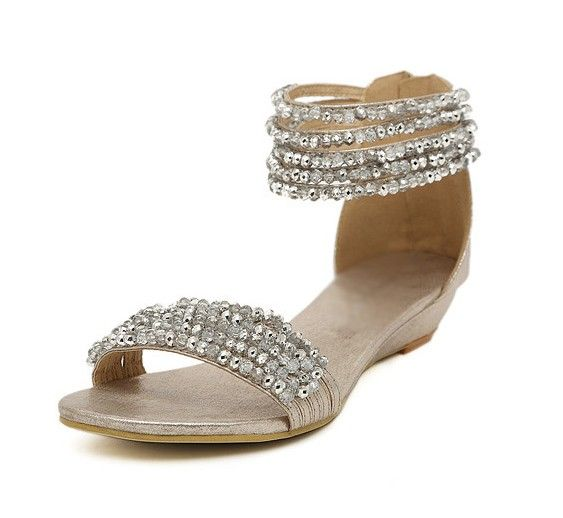 Silver Beaded Open Toe Low Wedge Sandals