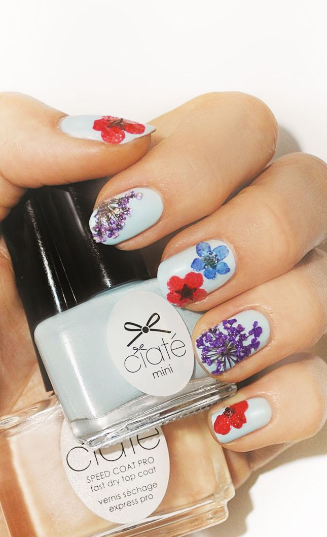 Pressed Flowers Nail Art These Are Just So Pretty But I Have Yell