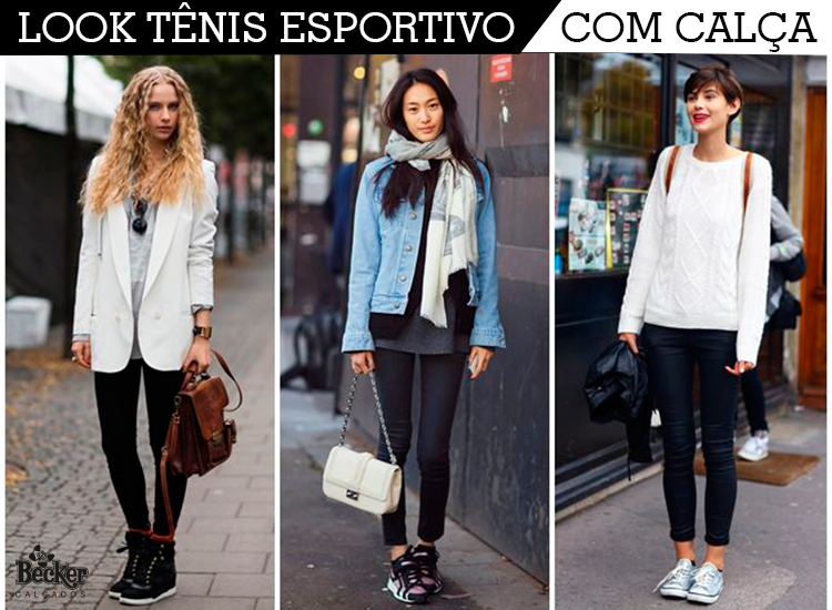 a609054a010 Look tênis esportivo com calça Tenis Esportivo