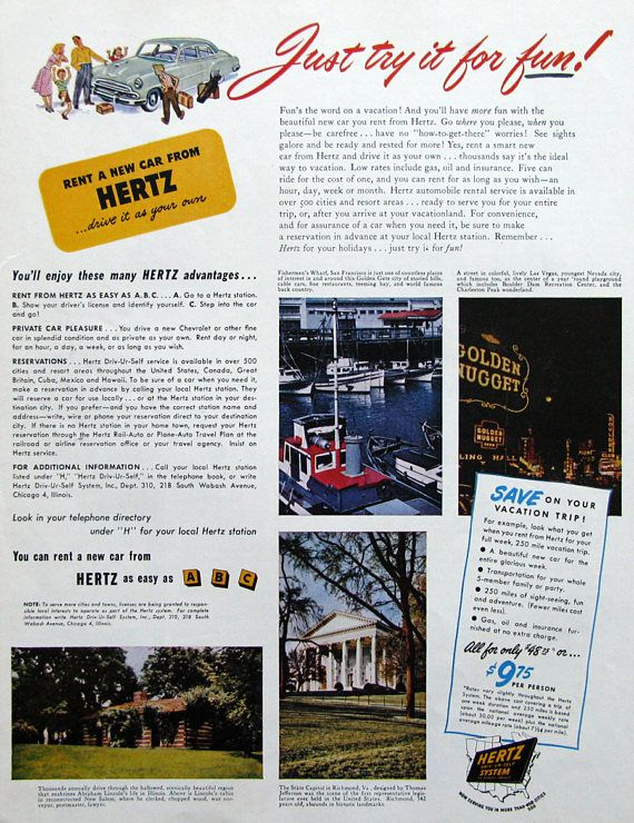 1951 Hertz Rental Car Ad Abraham Lincoln's Cabin, Golden