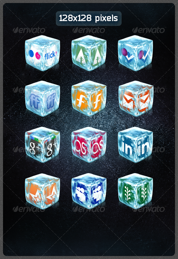 40 Realistic Ice Cube Social Icons Social Icons Photoshop Textures Create Website