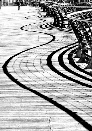 #Photography Boardwalk Shadows.The rail on the Millennium Stadium Boardwalk above the River Taff casts strong shadows. Photograph Steve Garrington