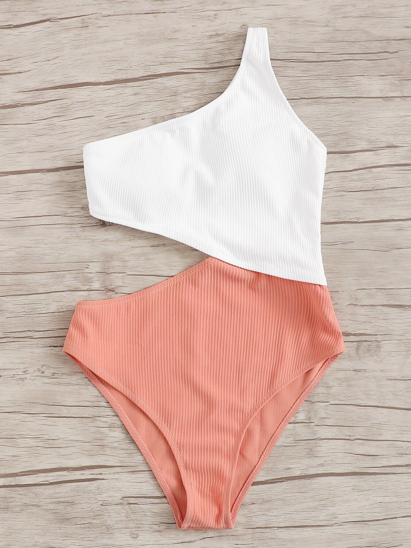 Two Tone Cut-out One Shoulder One Piece Swimwear
